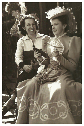 Judy Garland and Dottie Ponedel on the set of The Harvey Girls