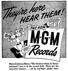 March 7, 1947 MGM Records promotional newspaper advertisement.