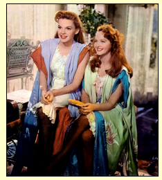 "Judy Garland and Lucille Bremer on the set of ""Meet Me In St. Louis"""